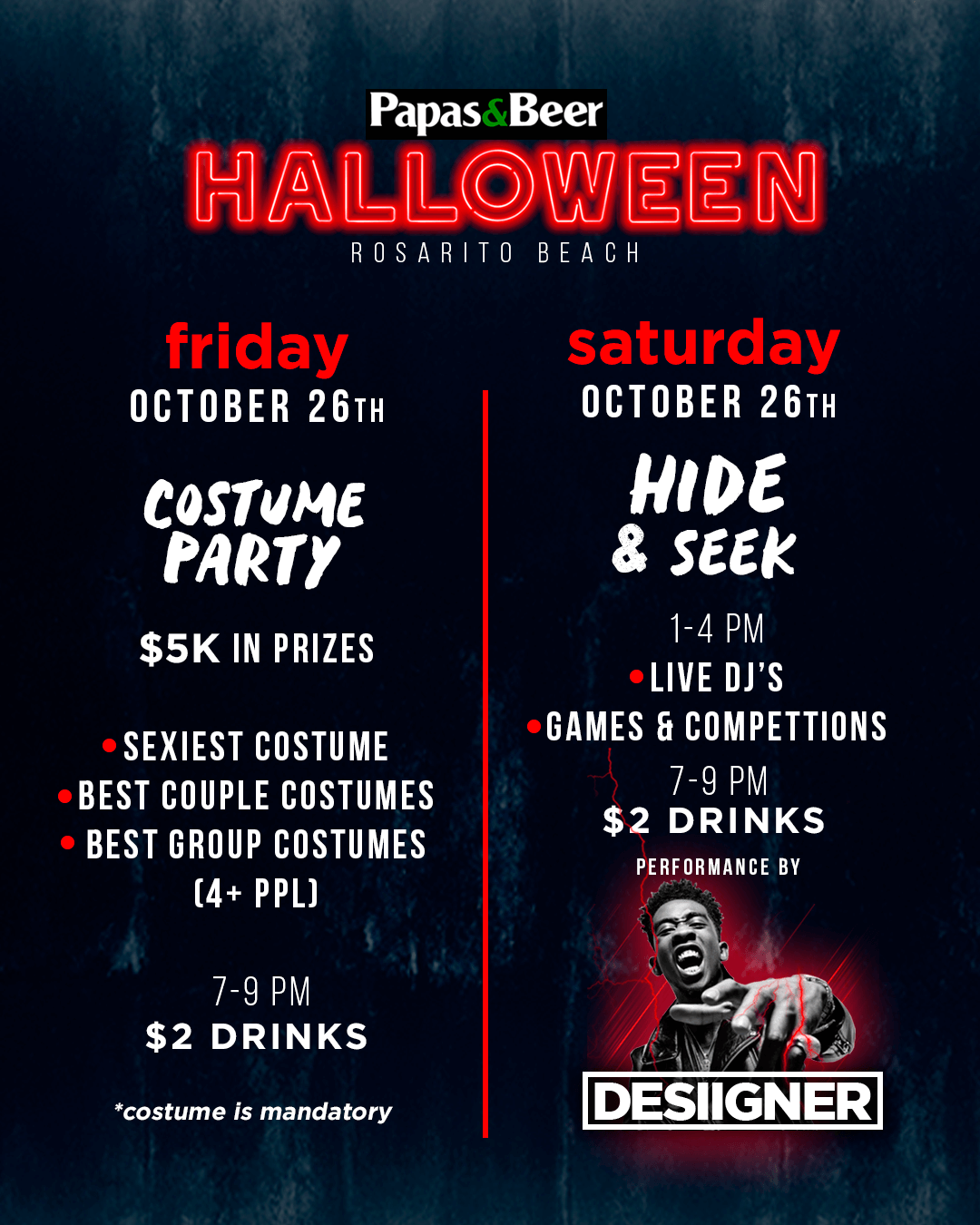 halloween schedule